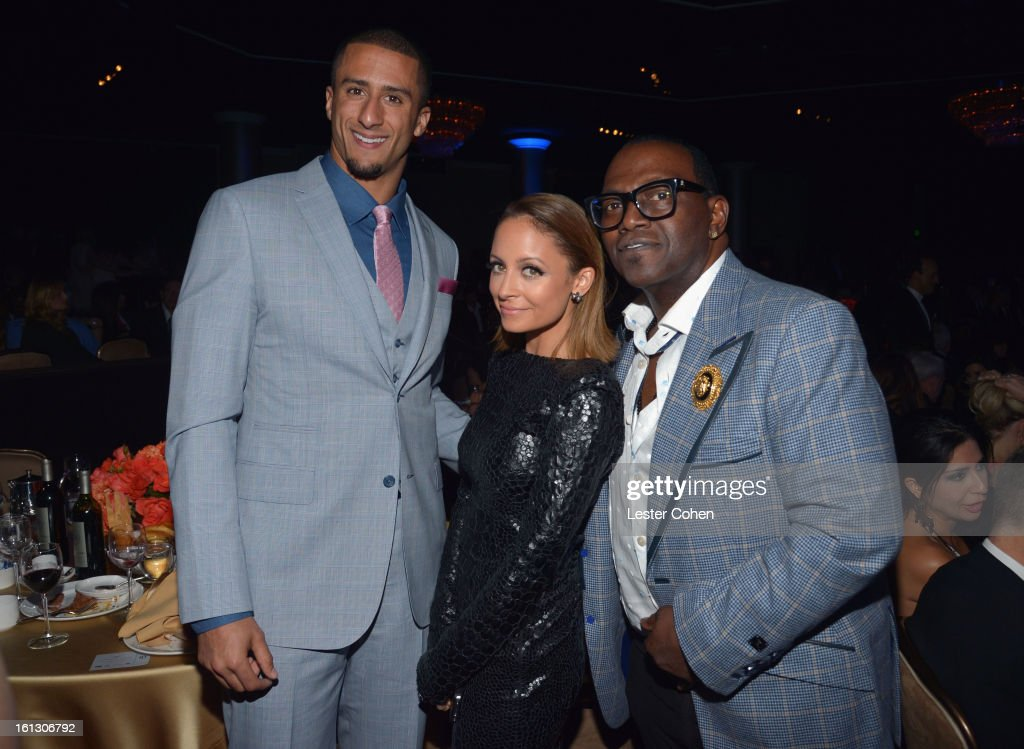 NFL quarterback Colin Kaepernick, designer Nicole Richie and TV personality Randy Jackson attend the 55th Annual GRAMMY Awards Pre-GRAMMY Gala and Salute to Industry Icons honoring L.A. Reid held at The Beverly Hilton on February 9, 2013 in Los Angeles, California.