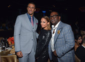 NFL quarterback Colin Kaepernick designer Nicole Richie and TV personality Randy Jackson attend the 55th Annual GRAMMY Awards PreGRAMMY Gala and...