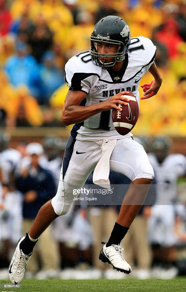 Quarterback Colin Kaepernick of the Nevada Wolf Pack rolls out during the first half of the game against the Missouri Tigers on September 13 2008 at...