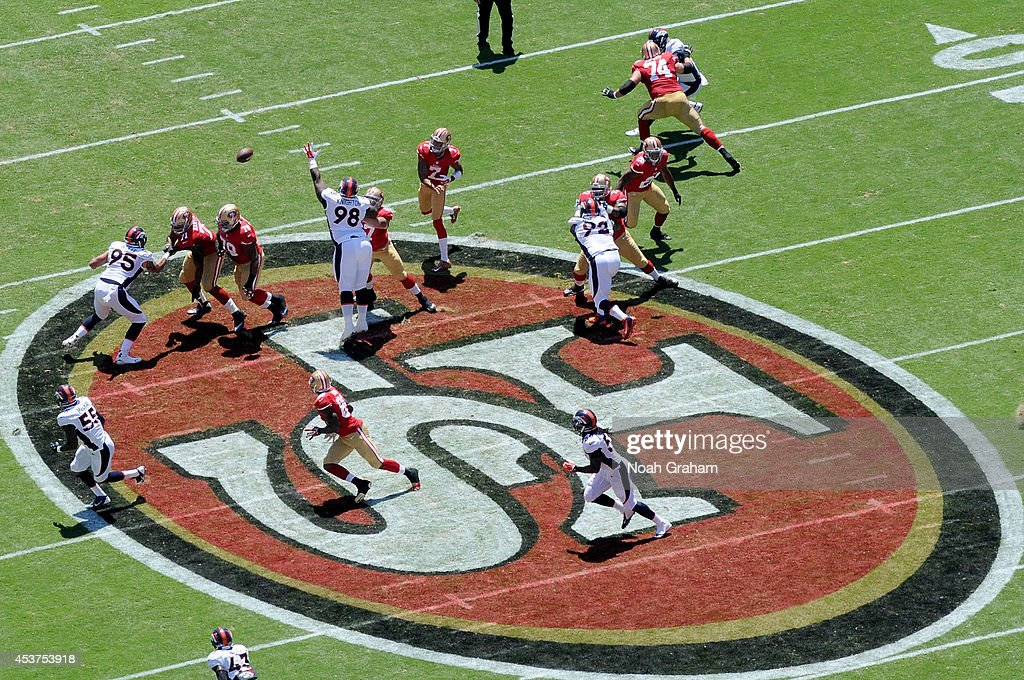 Quarterback <a gi-track='captionPersonalityLinkClicked' href=/galleries/search?phrase=Colin+Kaepernick&family=editorial&specificpeople=5525694 ng-click='$event.stopPropagation()'>Colin Kaepernick</a> #7 of the San Francisco 49ers passes during a preseason game against the Denver Broncos at Levi's Stadium on August 17, 2014 in Santa Clara, California.
