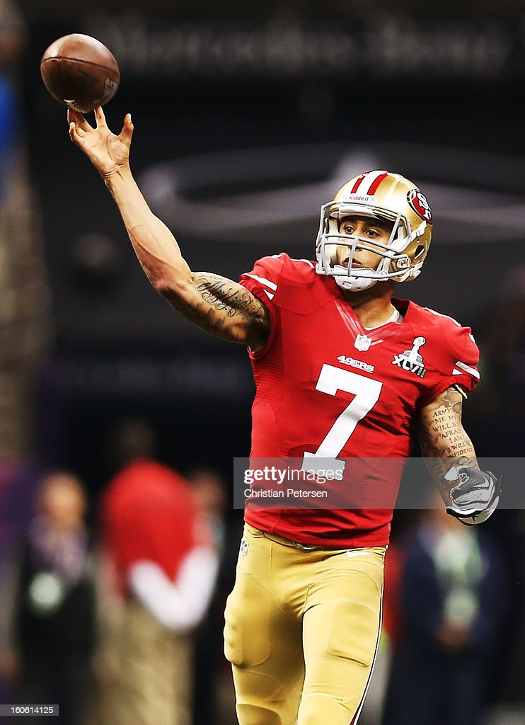 Quarterback Colin Kaepernick #7 of the San Francisco 49ers throws a pass in the first quarter against the Baltimore Ravens during Super Bowl XLVII at the Mercedes-Benz Superdome on February 3, 2013 in New Orleans, Louisiana.