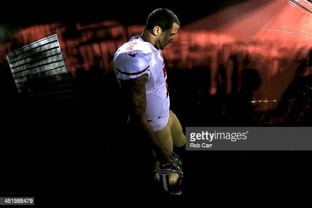 Quarterback Colin Kaepernick of the San Francisco 49ers walks through the tunnel before taking on the Washington Redskins at FedExField on November...