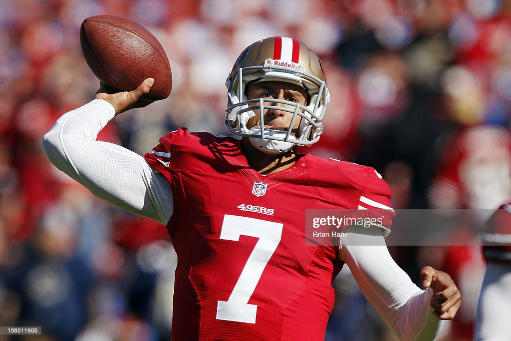 Quarterback <a gi-track='captionPersonalityLinkClicked' href=/galleries/search?phrase=Colin+Kaepernick&family=editorial&specificpeople=5525694 ng-click='$event.stopPropagation()'>Colin Kaepernick</a> #7 of the San Francisco 49ers warms up before a game against the St. Louis Rams on November 11, 2012 at Candlestick Park in San Francisco, California. The teams tied 24-24 in overtime.