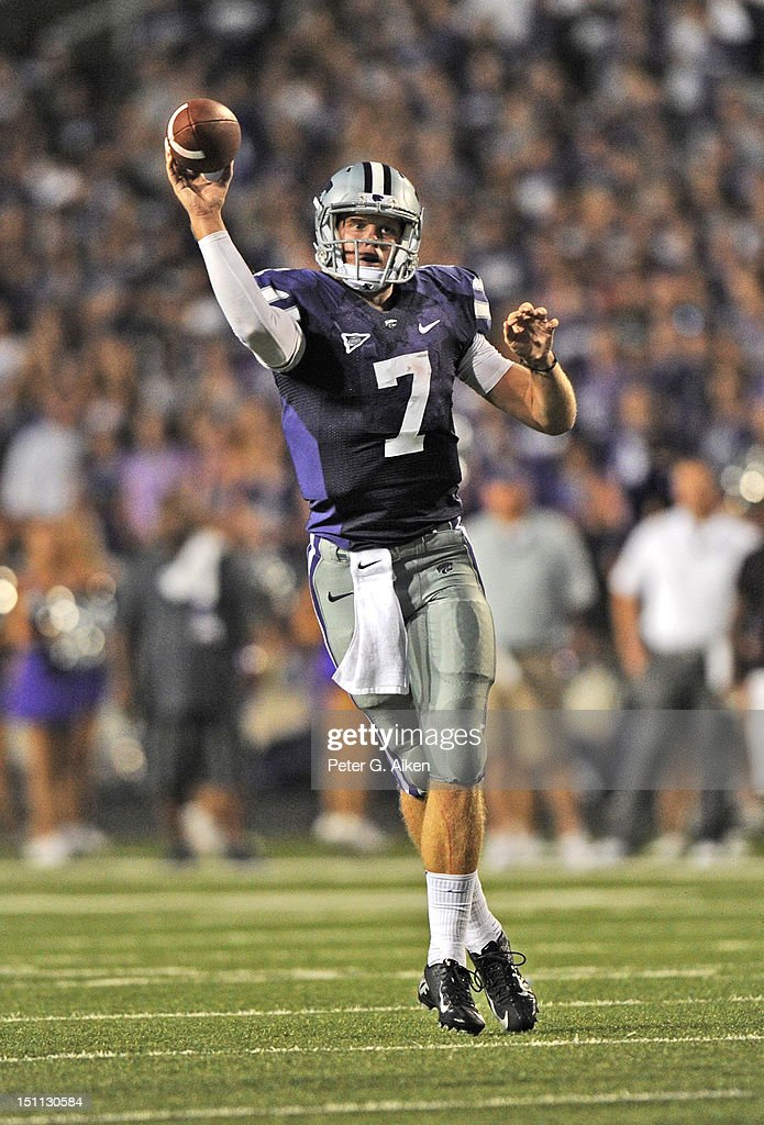 Quarterback <a gi-track='captionPersonalityLinkClicked' href=/galleries/search?phrase=Collin+Klein&family=editorial&specificpeople=5838707 ng-click='$event.stopPropagation()'>Collin Klein</a> #7 of the Kansas State Wildcats rolls out to pass against the Missouri State Bears during the third quarter on September 1, 2012 at Bill Snyder Family Stadium in Manhattan, Kansas. Kansas State defeated Missouri State 51-9.