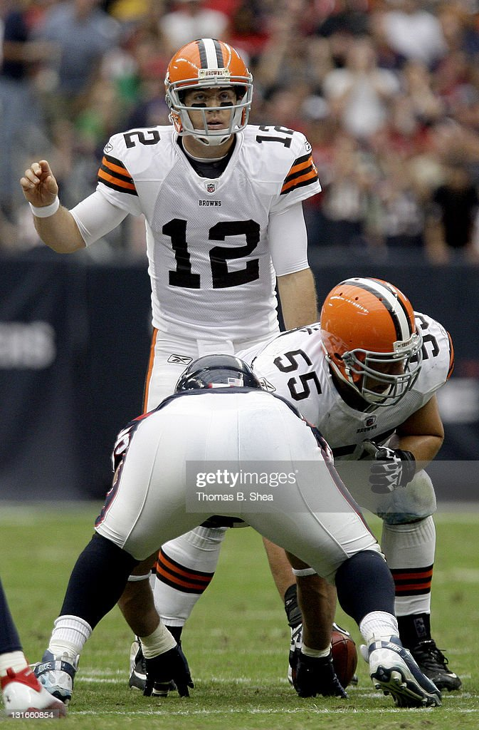 Quarterback <a gi-track='captionPersonalityLinkClicked' href=/galleries/search?phrase=Colt+McCoy&family=editorial&specificpeople=2701586 ng-click='$event.stopPropagation()'>Colt McCoy</a> #12 of the Cleveland Browns calls an audible against the Houston Texans on November 6, 2011 at Reliant Stadium in Houston, Texas.
