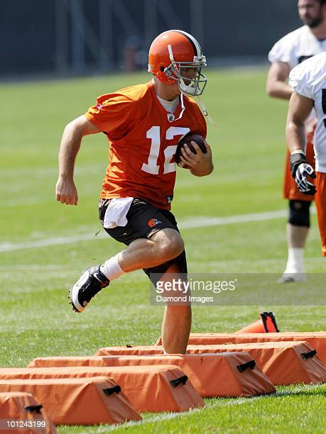 Quarterback Colt McCoy of the Cleveland Browns performs an agility drill during the team's organized team activity on May 27 2010 at the Cleveland...
