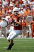 Quarterback Colt McCoy of the Texas Longhorns drops back to pass against the North Texas Eagles on September 2 2006 at Texas Memorial Stadium in...