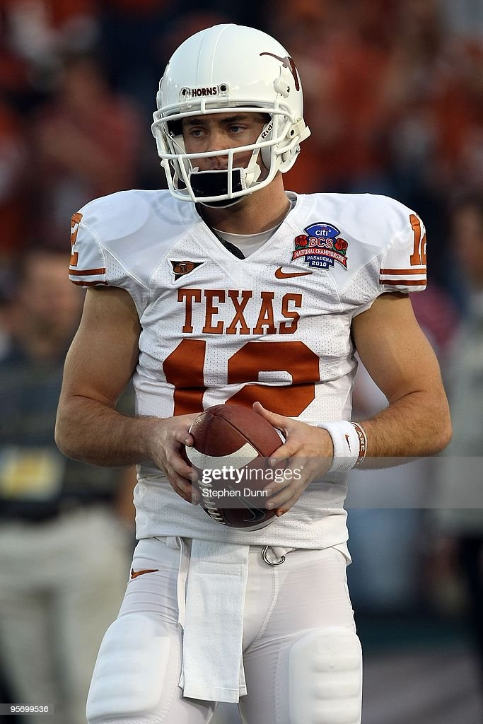 Quarterback <a gi-track='captionPersonalityLinkClicked' href=/galleries/search?phrase=Colt+McCoy&family=editorial&specificpeople=2701586 ng-click='$event.stopPropagation()'>Colt McCoy</a> #12 of the Texas Longhorns looks on before taking on the Alabama Crimson Tide in the Citi BCS National Championship game at the Rose Bowl on January 7, 2010 in Pasadena, California.