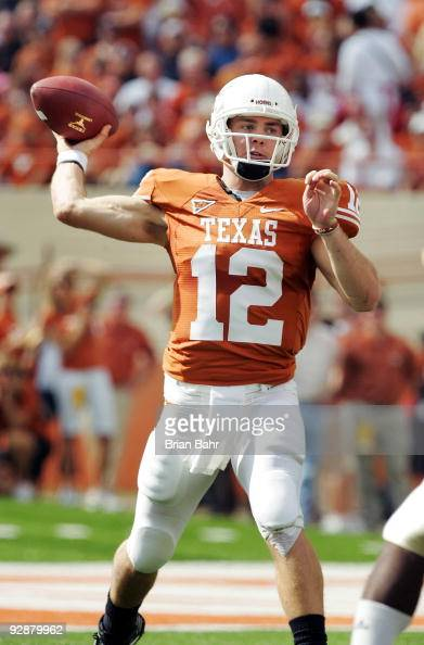 Quarterback Colt McCoy of the Texas Longhorns looks throws against the UCF Knights in the first quarter on November 7 2009 at Darrell K Royal Texas...