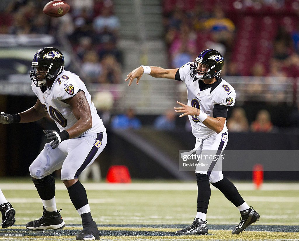 Quarterback <a gi-track='captionPersonalityLinkClicked' href=/galleries/search?phrase=Curtis+Painter&family=editorial&specificpeople=2156169 ng-click='$event.stopPropagation()'>Curtis Painter</a> #8 of the Baltimore Ravens throws the ball during the game against the St. Louis Rams at the Edward Jones Dome on August 30, 2012 in St. Louis, Missouri. The St. Louis Rams defeated the Baltimore Ravens 31-17.