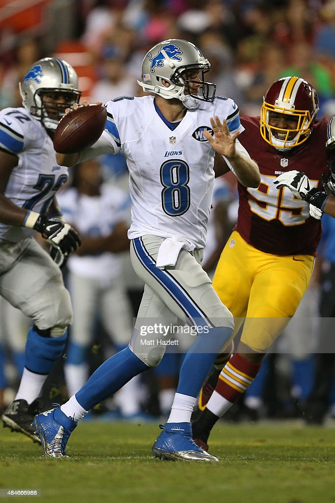 Quarterback Dan Orlovsky #8 of the Detroit Lions makes a pass during a preseason game against the Washington Redskins at FedEx Field on August 20, 2015 in Landover, Maryland.