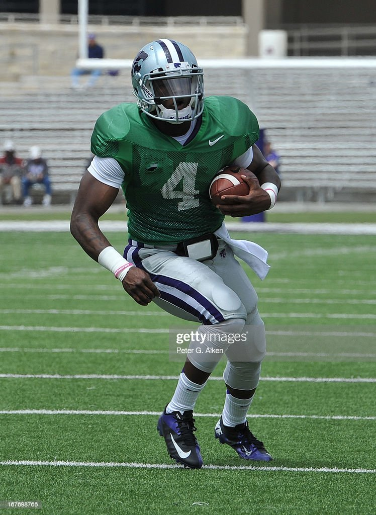 Quarterback Daniel Sams #4 of the Kansas State Wildcats rushes up field during the Purple and White Spring Game on April 27, 2013 at Bill Snyder Family Stadium in Manhattan, Kansas.