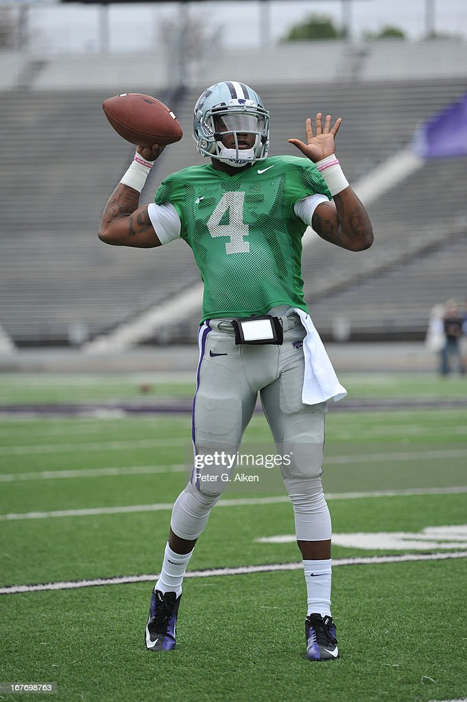 Quarterback Daniel Sams #4 of the Kansas State Wildcats warms up before the Purple and White Spring Game on April 27, 2013 at Bill Snyder Family Stadium in Manhattan, Kansas.