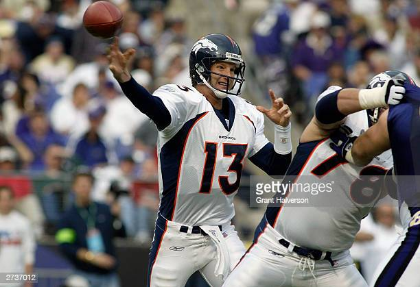 Quarterback Danny Kanell of the Denver Broncos passes against the Baltimore Ravens during the NFL game at MT Bank Stadium on October 26 2003 in...