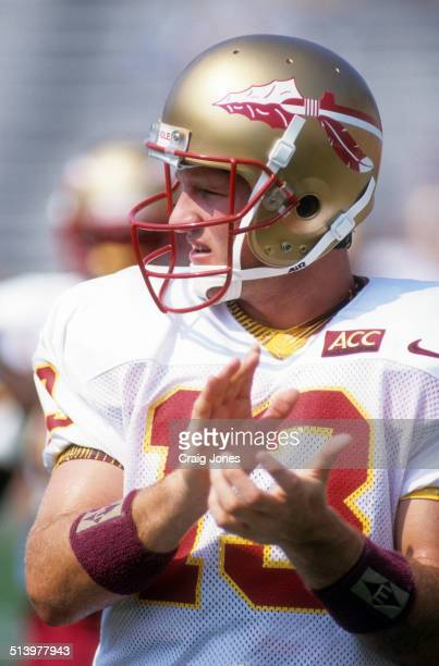 Quarterback Danny Kanell of the Florida State Seminoles looks on during an NCAA game against the Clemson Tigers on September 9 1995 at Memorial...
