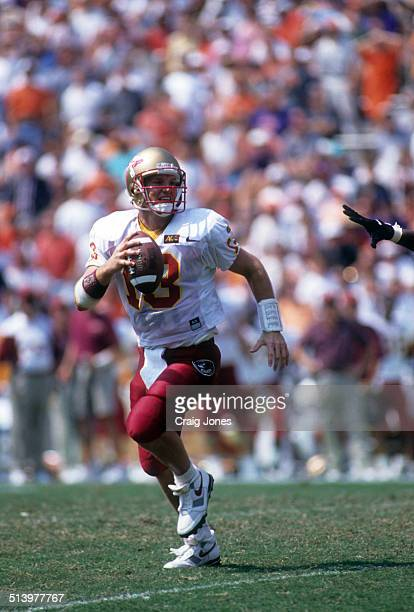 Quarterback Danny Kanell of the Florida State Seminoles runs with the ball during an NCAA game against the Clemson Tigers on September 9 1995 at...
