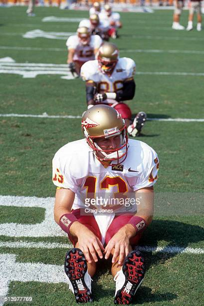Quarterback Danny Kanell of the Florida State Seminoles stretches before an NCAA game against the Clemson Tigers on September 9 1995 at Memorial...