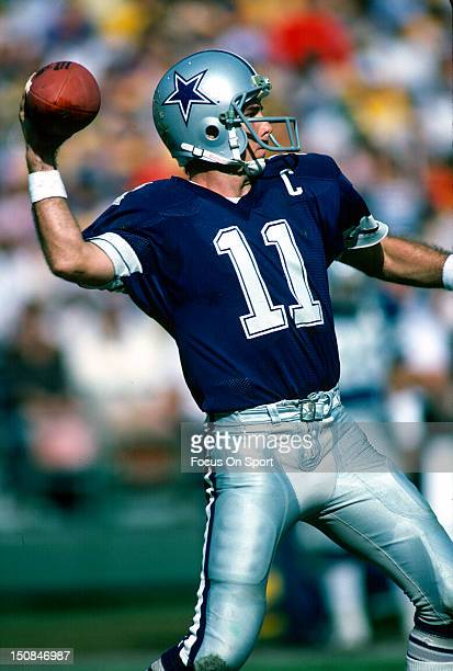 Quarterback Danny White of the Dallas Cowboys drops back to pass against the San Diego Chargers during an NFL football game at Jack Murphy Stadium...