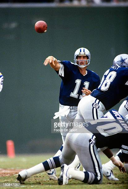 Quarterback Danny White of the Dallas Cowboys throws a pass against the San Diego Chargers during an NFL football game at Jack Murphy Stadium circa...