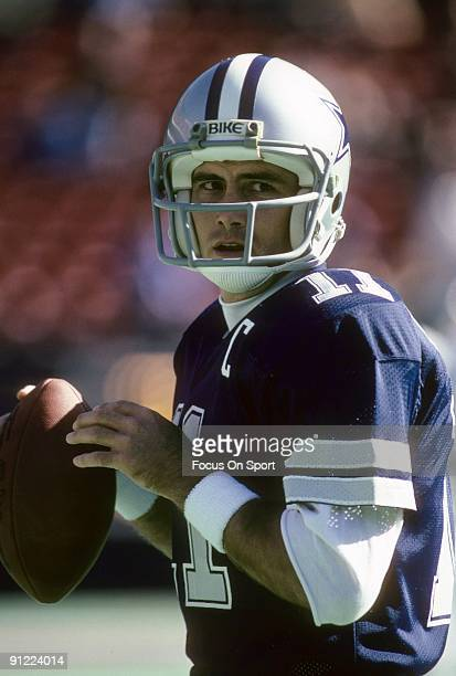 Quarterback Danny White of the Dallas Cowboys warms up before an NFL football game against the New York Giants October 30 1983 at Giant Stadium in...