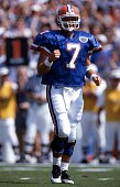 Quarterback Danny Wuerffel of the Florida Gators celebrates during an NCAA game against the LSU Tigers on October 12 1996 at Ben Hill Griffin Stadium...