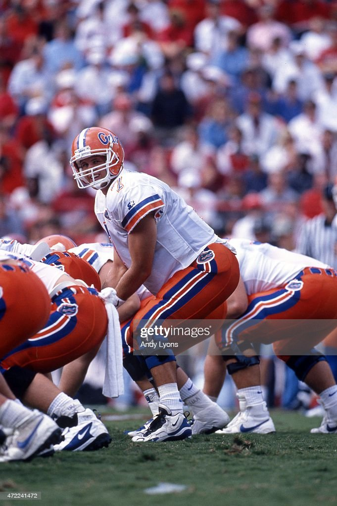 Quarterback Danny Wuerffel of the Florida Gators looks to take the snap during an NCAA game against the Arkansas Razorbacks on October 5 1996 at...