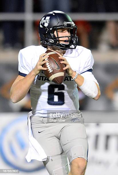 Quarterback Darell Garretson of the Utah State Aggies looks to throw against the UNLV Rebels during their game at Sam Boyd Stadium on November 9 2013...