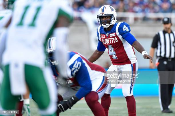 Quarterback Darian Durant of the Montreal Alouettes calls out the play against the Saskatchewan Roughriders during the CFL game at Percival Molson...