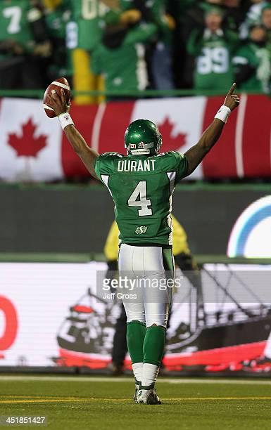 Quarterback Darian Durant of the Saskatchewan Roughriders celebrates a touchdown by teammate Weston Dressler in the fourth quarter against the...