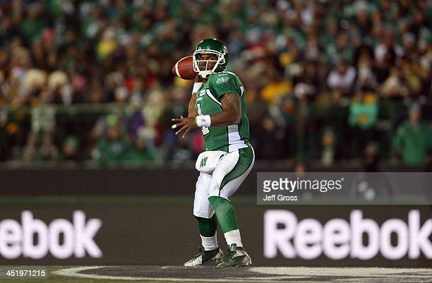 Quarterback Darian Durant of the Saskatchewan Roughriders drops back to pass against the Hamilton TigerCats during the 101st Grey Cup Championship...