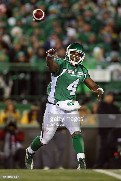 Quarterback Darian Durant of the Saskatchewan Roughriders throws a pass in the second half against the Hamilton TigerCats during the 101st Grey Cup...