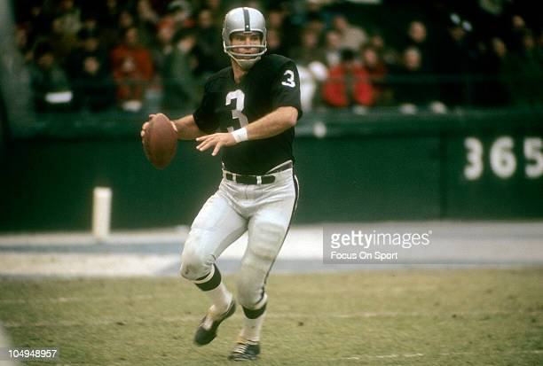 Quarterback Daryle Lamonica of the Oakland Raiders drops back to pass against the Detroit Lions during an NFL football game Thanksgiving Day November...