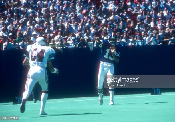 Quarterback Dave Jennings of the New York Giants throws the ball during an NFL game against the St Louis Cardinals on September 9 1979 at Giants...