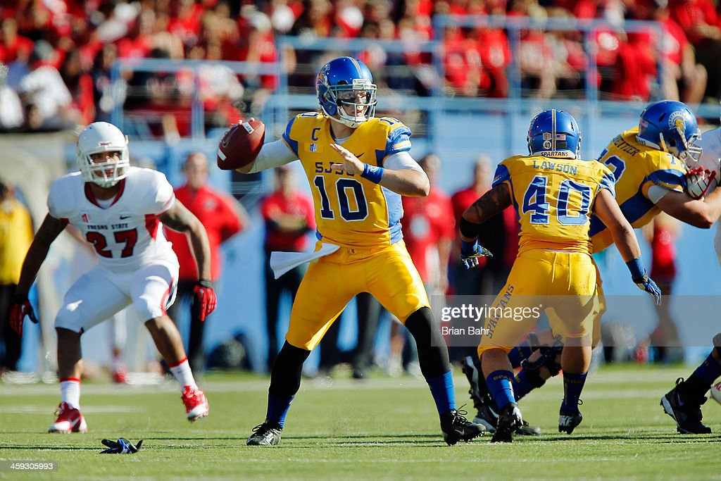 Quarterback David Fales of the San Jose State Spartans looks for a receiver against the Fresno State Bulldogs in the first quarter on November 29...
