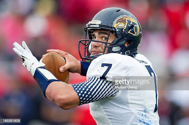 Quarterback David Fisher of the Kent State Golden Flashes looks to throw a pass during their game against the South Alabama Jaguars on October 19...