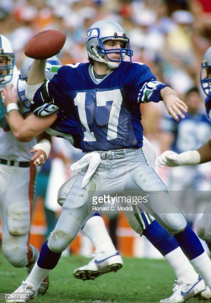 Quarterback David Krieg of the Seattle Seahawks goes back to pass in the AFC Divisional Playoff game against the Miami Dolphins on December 29 l984...