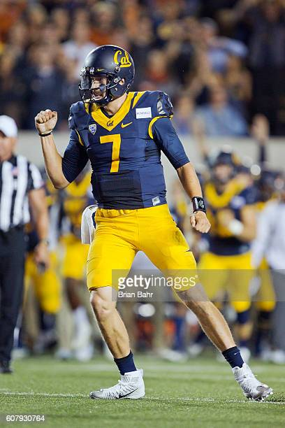 Quarterback Davis Webb of the California Golden Bears celebrates a touchdown against the Texas Longhorns in the first quarter on September 17 2016 at...