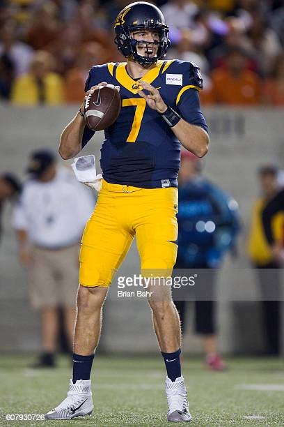 Quarterback Davis Webb of the California Golden Bears looks to throw against the Texas Longhorns in the first quarter on September 17 2016 at...