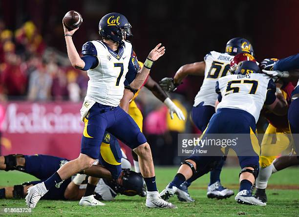Quarterback Davis Webb of the California Golden Bears passes during the first quarter against the USC Trojans at Los Angeles Coliseum on October 27...