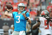 Quarterback Derek Anderson of the Carolina Panthers throws a pass against the Tampa Bay Buccaneers in the third quarter at Raymond James Stadium on...