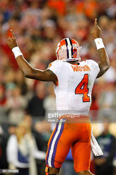 Quarterback Deshaun Watson of the Clemson Tigers gestures during the first half against the Alabama Crimson Tide in the 2017 College Football Playoff...