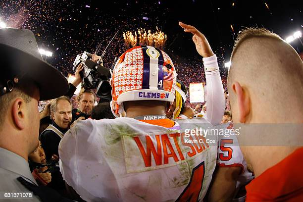 Quarterback Deshaun Watson of the Clemson Tigers stands on the field after defeating the Alabama Crimson Tide 3531 to win the 2017 College Football...
