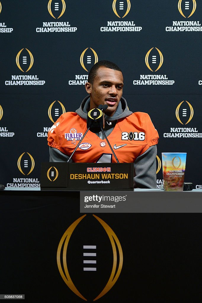 Quarterback Deshaun Watson of the Clemson Tigers talks with the media during Media Day for the College Football Playoff National Championship at...