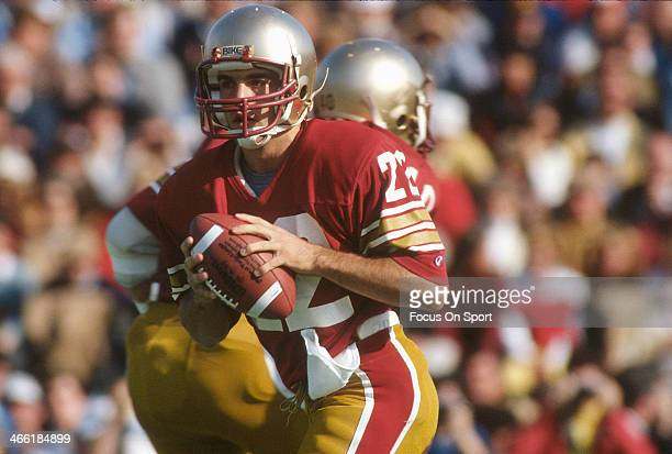 Quarterback Doug Flutie of Boston College Eagles drops back to pass against Penn State Nittany Lions during an NCAA College football game October 29...