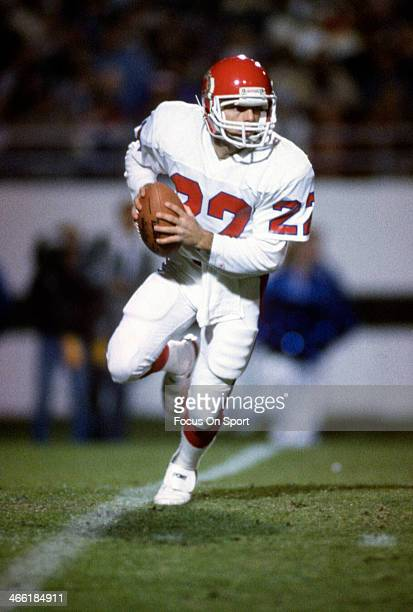 Quarterback Doug Flutie of the New Jersey Generals rolls out to pass during an USFL football game circa 1985 Flutie played for the Generals in 1985...