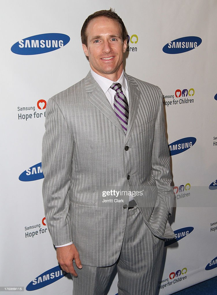 Quarterback <a gi-track='captionPersonalityLinkClicked' href=/galleries/search?phrase=Drew+Brees&family=editorial&specificpeople=202562 ng-click='$event.stopPropagation()'>Drew Brees</a> attends Samsung Hope For Children 12th Annual Gala at Cipriani Wall Street on June 11, 2013 in New York City.