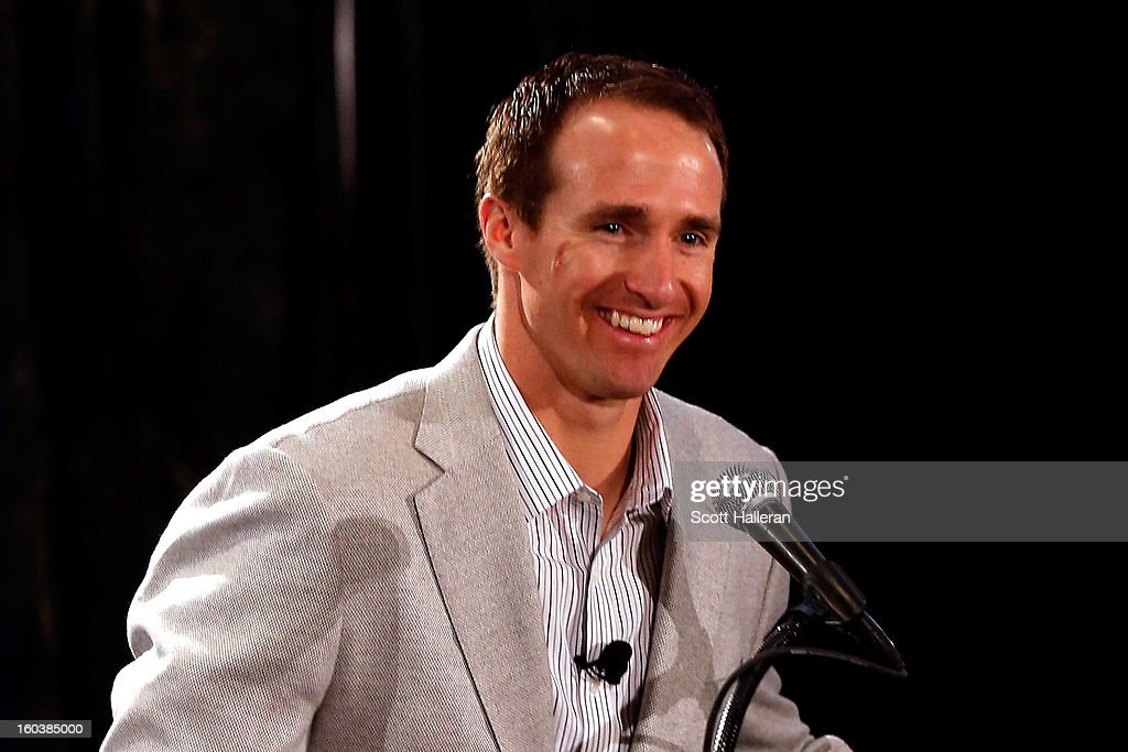Quarterback Drew Brees of the New Orleans Saints addresses the media during the VISA Financial Football Press Event at the Media Center on January 30, 2013 in New Orleans, Louisiana.