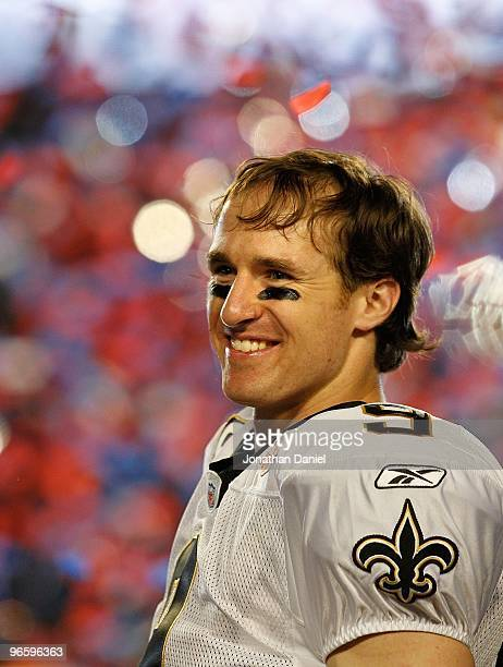 Quarterback Drew Brees of the New Orleans Saints celebrates after his team defeated the Indianapolis Colts during Super Bowl XLIV on February 7 2010...