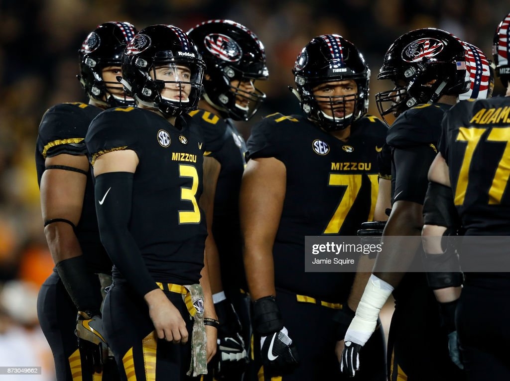 Quarterback Drew Lock #3 of the Missouri Tigers huddles during the game against the Tennessee Volunteers at Faurot Field/Memorial Stadium on November 11, 2017 in Columbia, Missouri.