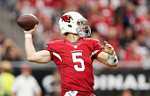 Quarterback Drew Stanton of the Arizona Cardinals throws the football in the first quarter during the NFL game against the Detroit Lions at the...
